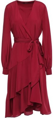 Badgley Mischka Ruffled Crepe De Chine Wrap Dress