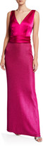 St. John Sleeveless Textured Metallic Inlay Column Gown w/ Liquid Satin Bodice