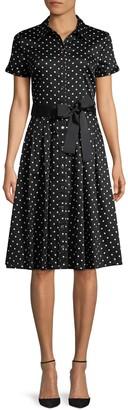 Karl Lagerfeld Paris Dot-Print Button-Front Dress