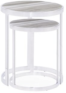 Blink Home Soho 2 Piece Nesting Tables Table Top Color: White