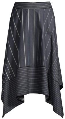 Donna Karan Striped Handkerchief Hem Denim Midi Skirt