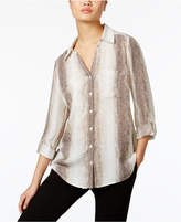 NY Collection Snakeskin-Print Utility Shirt