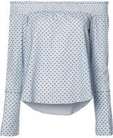 Derek Lam 10 Crosby dots print off-shoulders blouse