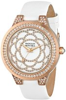 Badgley Mischka Women's BA/1330WTRG Swarovski Crystal Accented Rose Gold-Tone and White Leather Strap Watch