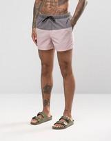 Asos Swim Shorts In Pink Acid Wash With Gray Panel Short Length