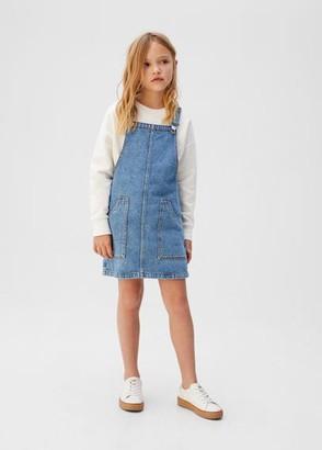 MANGO Pocket denim pinafore dress dark blue - 5 - Kids