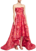 Marchesa Strapless Floral Fil Coupe High-Low Gown, Fuchsia