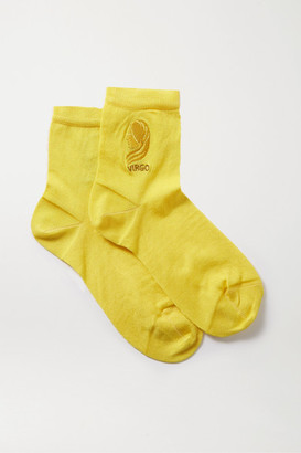 Maria La Rosa Virgo Embroidered Silk-blend Socks - Yellow