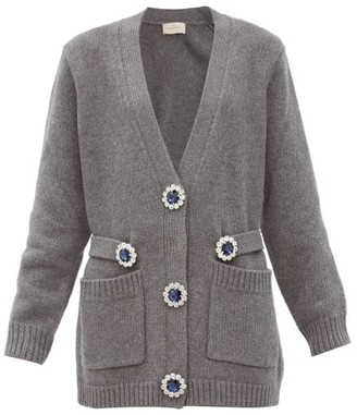 Christopher Kane Oversized Crystal-flower Wool Cardigan - Grey