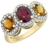 PIERA 10K Yellow Gold Enhanced Ruby & Whisky Quartz 3-Stone Ring Oval Diamond Accent, size 10