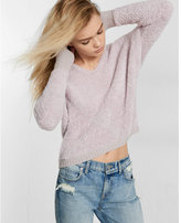 Express fuzzy hooded pullover sweater