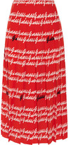 Gucci Pleated Printed Silk Midi Skirt - Red