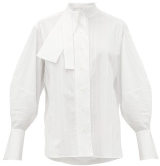 Palmer Harding Palmer//harding - Sara Cotton-blend Neck Tie Shirt - White