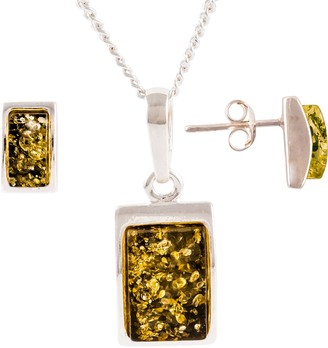 Be Jewelled Be-Jewelled Sterling Silver Oblong Green Amber Pendant Necklace And Earrings Gift Set, Amber