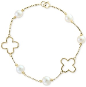 Effy Pearl by White Cultured Freshwater Pearl (6mm) Flower Bracelet in 14k Gold