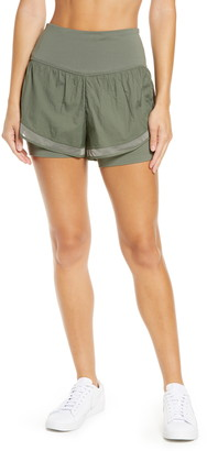 Zella Fresh Air High Waist Double Layer Shorts