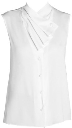 Giorgio Armani Silk-Blend Sleeveless Waterfall Front Blouse