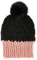 Dena Colorblock Knit Hat with Real Fox Fur Pom Pom