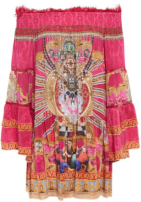 Camilla Lounge Hour Off-the-shoulder Embellished Printed Silk Crepe De Chine Mini Dress