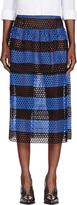 Marc Jacobs Black & Blue Striped Eyelet Overlay Skirt