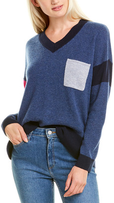 Hannah Rose Pocket Colorblocked Cashmere Sweater