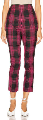 GRLFRND Zane High Waist Pant in Black & Pink Plaid   FWRD