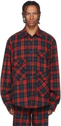 Wonders Red Flannel Plaid Utility Shirt
