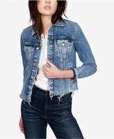 Lucky Brand Cotton Frayed-Hem Denim Jacket
