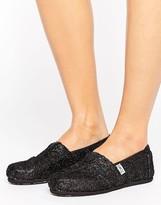 Toms Black Crochet Glitter Slip On Espadrilles