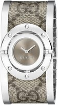 Gucci Women's YA112425 Twirl Medium Beige and Ebony GG Plus Bangle Watch