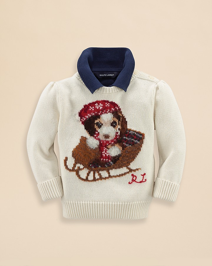 Ralph Lauren Infant Girls' Holiday Dog Sweater - Sizes 9-24 Months