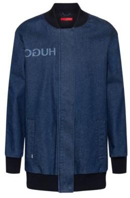 HUGO BOSS Oversized Fit Bomber Style Jacket In Stretch Denim - Blue