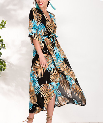 Milan Kiss Women's Special Occasion Dresses BLACK-BLUE - Tan & Blue Palm Frond Wrap Dress - Women