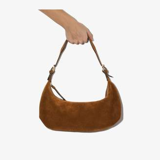 BY FAR Brown Mara suede shoulder bag