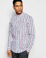 !solid Check Shirt With Button Down Collar In Regular Fit