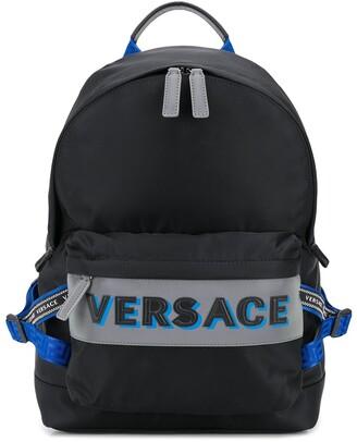 Versace Logo Embossed Backpack