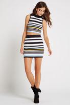 BCBGeneration Striped Rib Miniskirt - Black