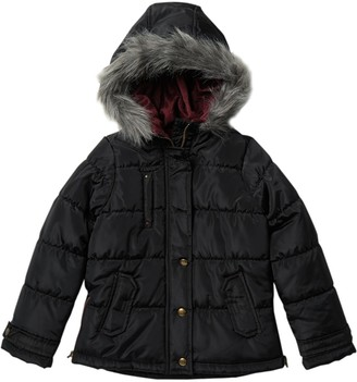 Jessica Simpson Faux Fur Lined Hooded Jacket (Big Girls)