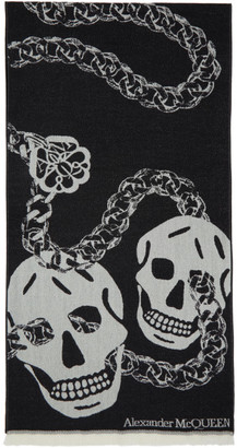 Alexander McQueen Black and White Wool Oversized Skull Scarf