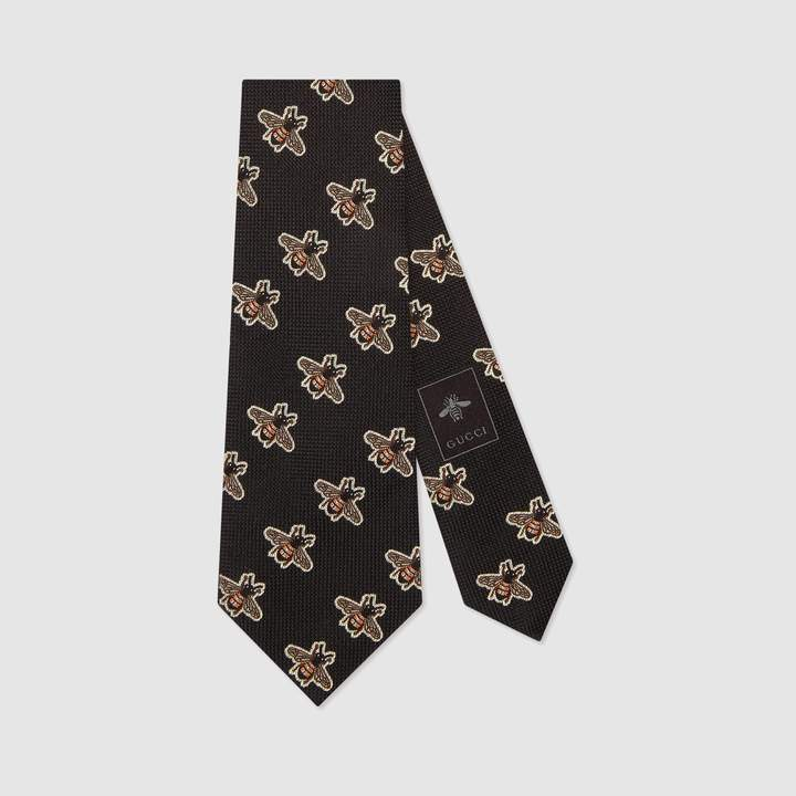 Gucci Bees pattern silk tie