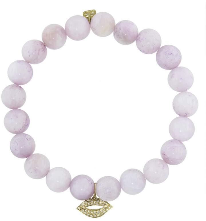 Sydney Evan Diamond Lips Charm On Kunzite Beaded Bracelet