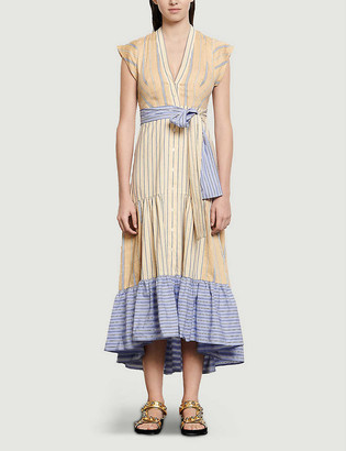 Sandro Rosanda striped linen-blend dress