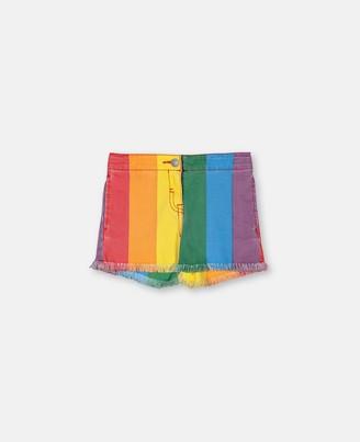Stella McCartney rainbow denim shorts