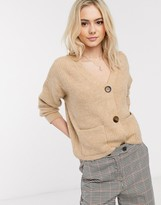 New Look patch pocket cardigan in camel