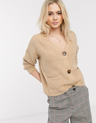 New Look patch pocket cardigan in camel-Tan