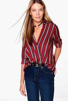 boohoo Eleanor Striped Wrap Front Shirt
