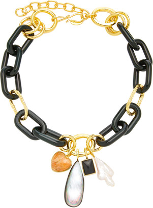 Lizzie Fortunato Forest Chunky Gold-Plated Brass Multi-Stone Chain Necklace