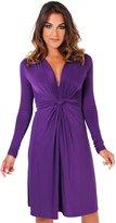 KRISP Knot Front Dress (Size UK 18/US 14) (9878-PUR-18)
