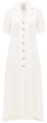Giuliva Heritage Collection The Giulia Cameo-button Silk Shirt Dress - Womens - White