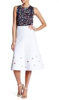 Cynthia Rowley Embroidered Dot Midi Skirt